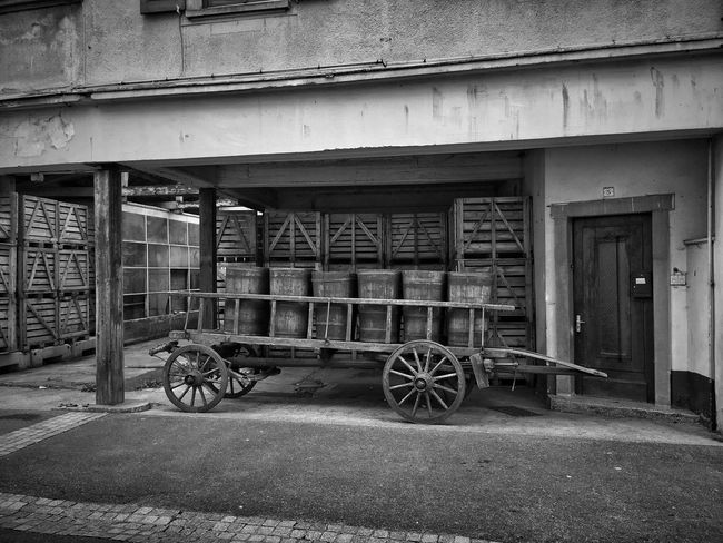 Transportation Wheel Mode Of Transport Old-fashioned Land Vehicle Built Structure No People History Building Exterior Outdoors Architecture Day EyeEm Best Shots EyeEmBestPics Bnw Bnw_collection Blackandwhite Bnw_captures Bw_collection