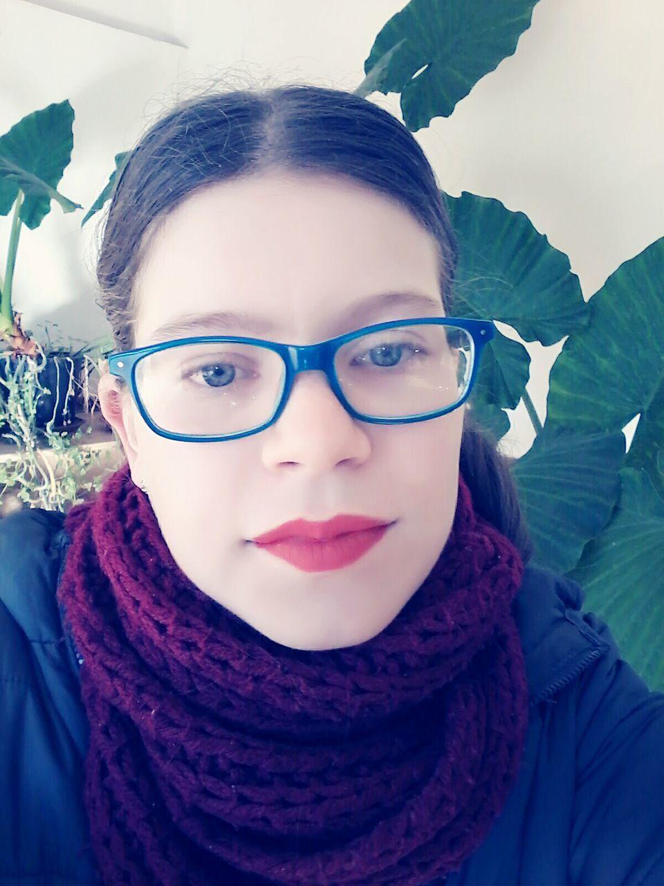 looking at camera, portrait, front view, one person, real people, headshot, scarf, eyeglasses, close-up, day, young women, young adult, outdoors, lifestyles, warm clothing, people