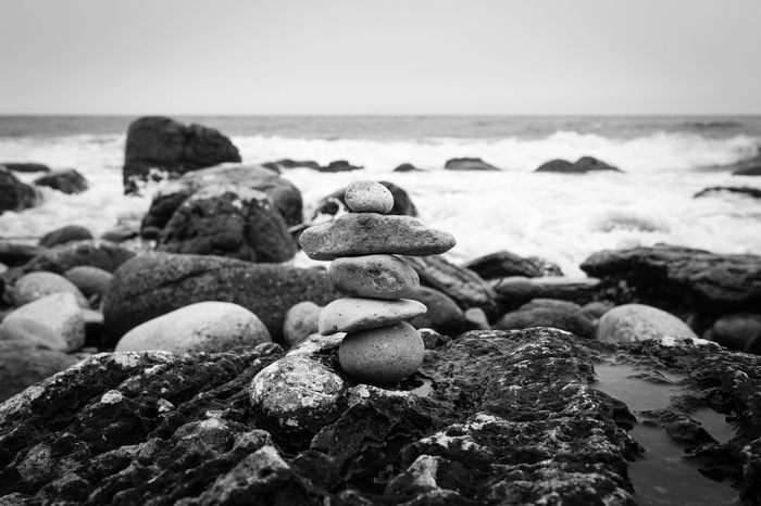 Beach Beauty In Nature Black And White Canon5Dmk3 Canonphotography Close-up EyeEm Nature Lover Eyeem Scotland  Inuksuk Live For The Story Monochrome Nature No People Outdoors Outdoors Photograpghy  Pebble Rock - Object Scotland Sea Shore Sigma 35mm Art The Great Outdoors - 2017 EyeEm Awards Tranquil Scene Tranquility Water