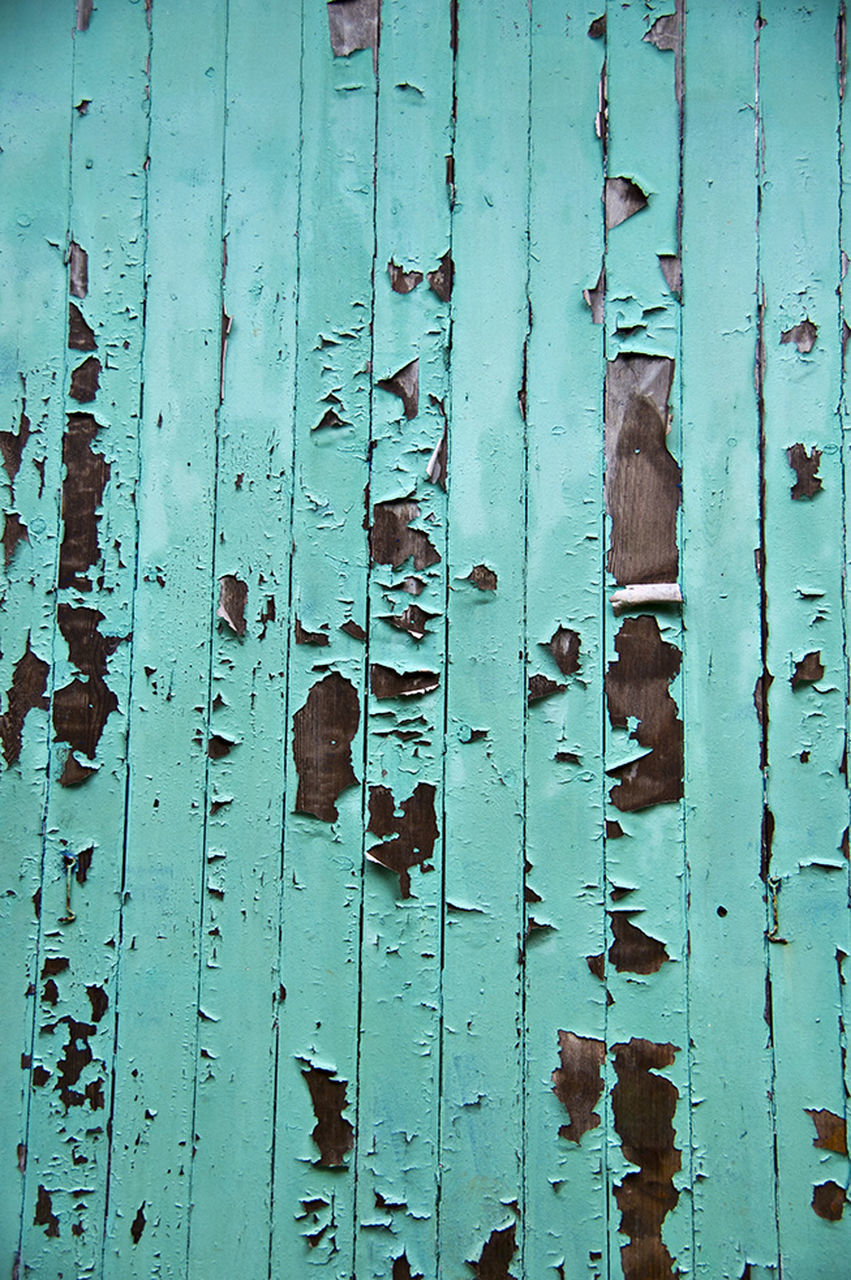 full frame, backgrounds, safety, close-up, protection, door, security, deterioration, blue, damaged, wooden, weathered, peeled, bad condition, peeling off, day, outdoors, no people
