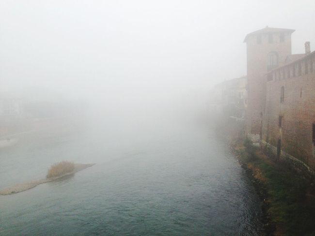 Fog on the river Adige Fog Verona Italy Beauty In Nature Outdoors No People Castelvecchio Architecture Scenics
