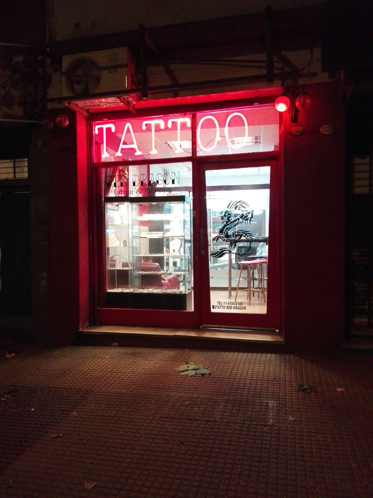 Red Dragon Tattoo Illuminated Night No People Outdoors Red Tattoo Shop Tattoos Tattto Parlor,