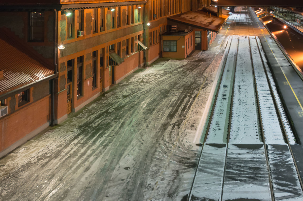Architecture Built Structure City Cold Temperature Day Nightphotography No People Outdoors Rail Transportation Railroad Station Railroad Track Snow Train Station Winter