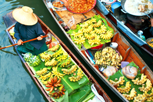 Abundance Arrangement Bangkok Thailand. Choice Collection Day Display Floating Market Dumnoen Saduak Food For Sale Freshness Large Group Of Objects Lifestyles Market Market Stall Retail  Small Business Variation