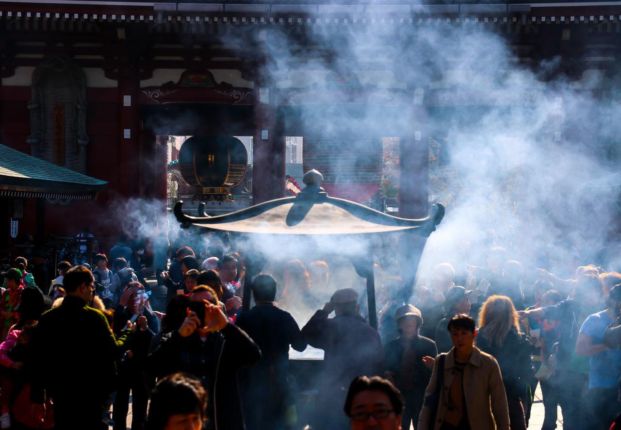 #asia #culture #Honchu #japan #Japanese #lantern #moody #people #smoke #Tokyo #visitjapan Crowd Outdoors People Smoke - Physical Structure