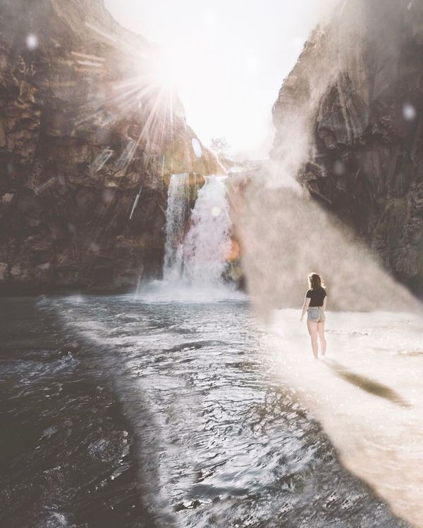 Magical Place Water Full Length One Person Adventure Outdoors Splashing Young Adult Waterfall Beauty In Nature Day One Woman Only Scenics One Young Woman Only Adults Only Motion People Nature Only Women Young Women Power In Nature Live For The Story