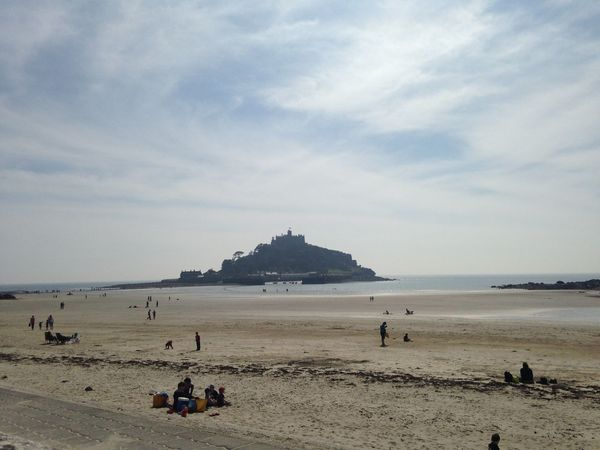 Architecture Beach Building Exterior Built Structure Horizon Over Water Large Group Of People Leisure Activity Lifestyles Mixed Age Range Sand Sea Shore Sky St Michael St Michaels Mount Tourism Tourist Travel Travel Destinations Vacations Water