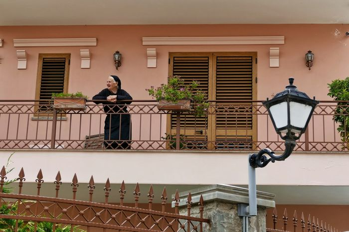 Elbasan Albania Woman Balkony House People Watching Old Woman Lantern Fence Traveling Travel People Women Around The World
