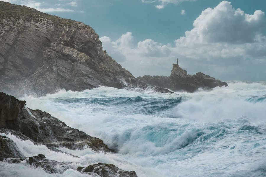 Wave Water Beauty In Nature Nature Sea Landscape_photography Sardinia Landscape Motion Wave Water Surf Sea Power In Nature Scenics Beauty In Nature Rock - Object Sky Speed Nature Splashing Rock Formation Cloud - Sky Breaking Non-urban Scene First Eyeem Photo