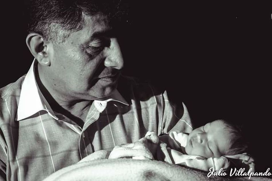 Black Background Adult Men Granfather Baby Soon Family