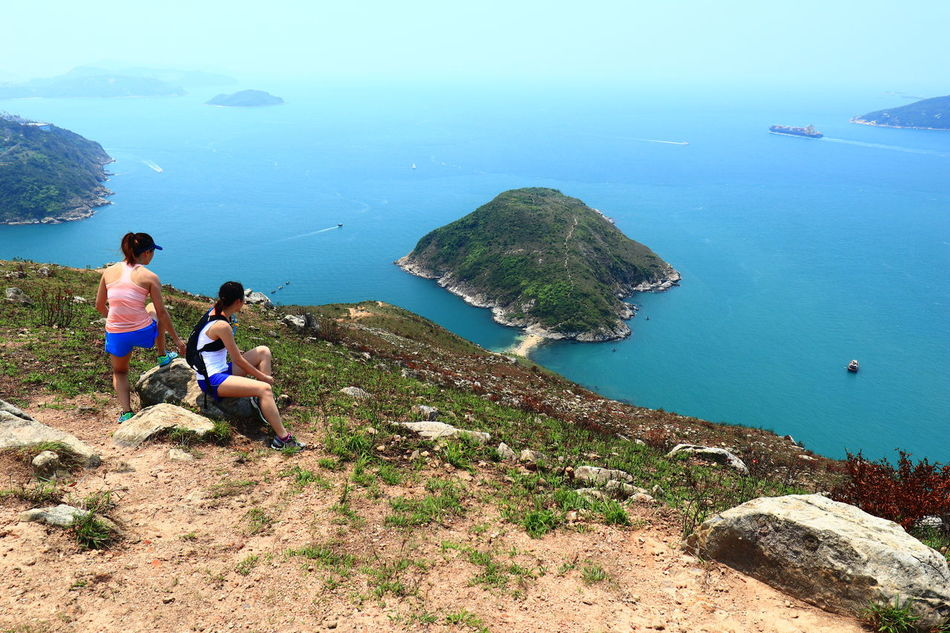 Two Ladies Ready To Go over the Hills and Sea. Beach Aerial View Two People Discoverhongkong HongKong High Angle View Nature Mountain Trail Trail Running Trail Runner Trail Run 16-35mm F4L Island Break The Mold Tadaa Community