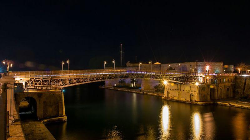 Taranto by night - Ponte Girevole e Castello Aragonese Taranto Pontegirevole Castello Aragonese Bridge Nightphotography Light Sea Castle Puglia
