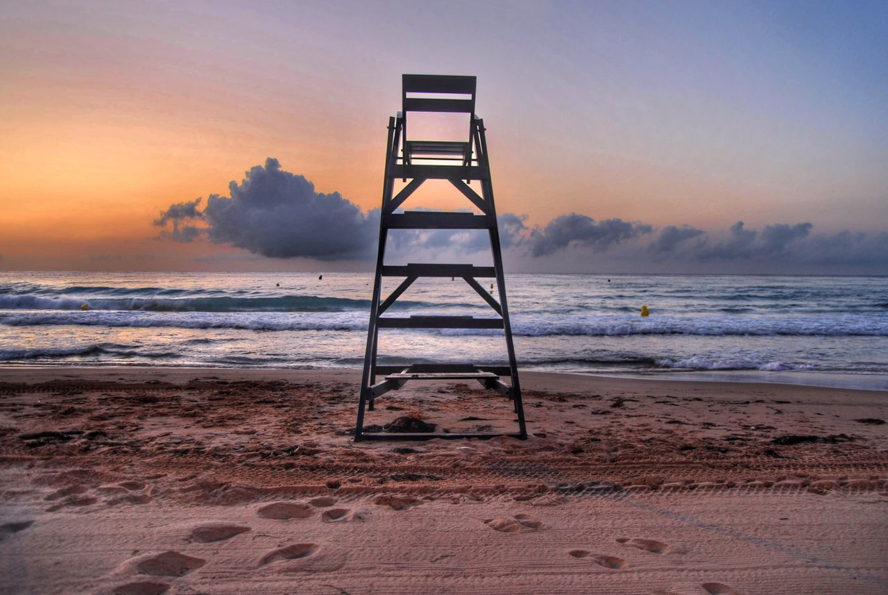 Beautiful stock photos of sonnenaufgang, Beach, Beauty In Nature, Chair, Cloud - Sky