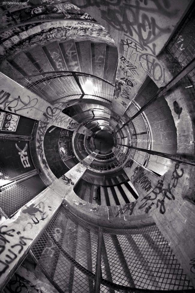 Spiral Stairs . Kinophoto Paris Blackandwhite Streetart