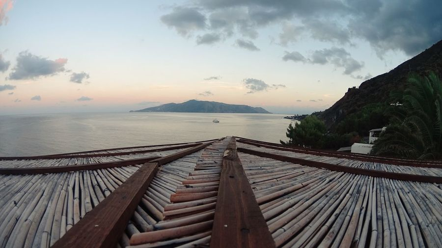 Photo taken in the root of my house here in Salina, Sicily, Italy. Sunset Sea Island Panorama Sicily Italy Eolie Water Summer