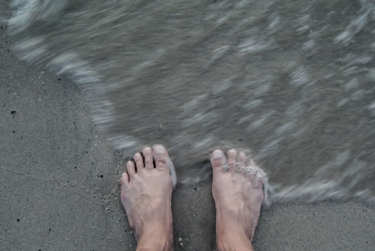 barefoot, low section, human foot, human leg, water, beach, sand, one person, personal perspective, real people, high angle view, human body part, vacations, day, outdoors, sea, wet, standing, lifestyles, leisure activity, ankle deep in water, men, wave, nature, adult, people, adults only