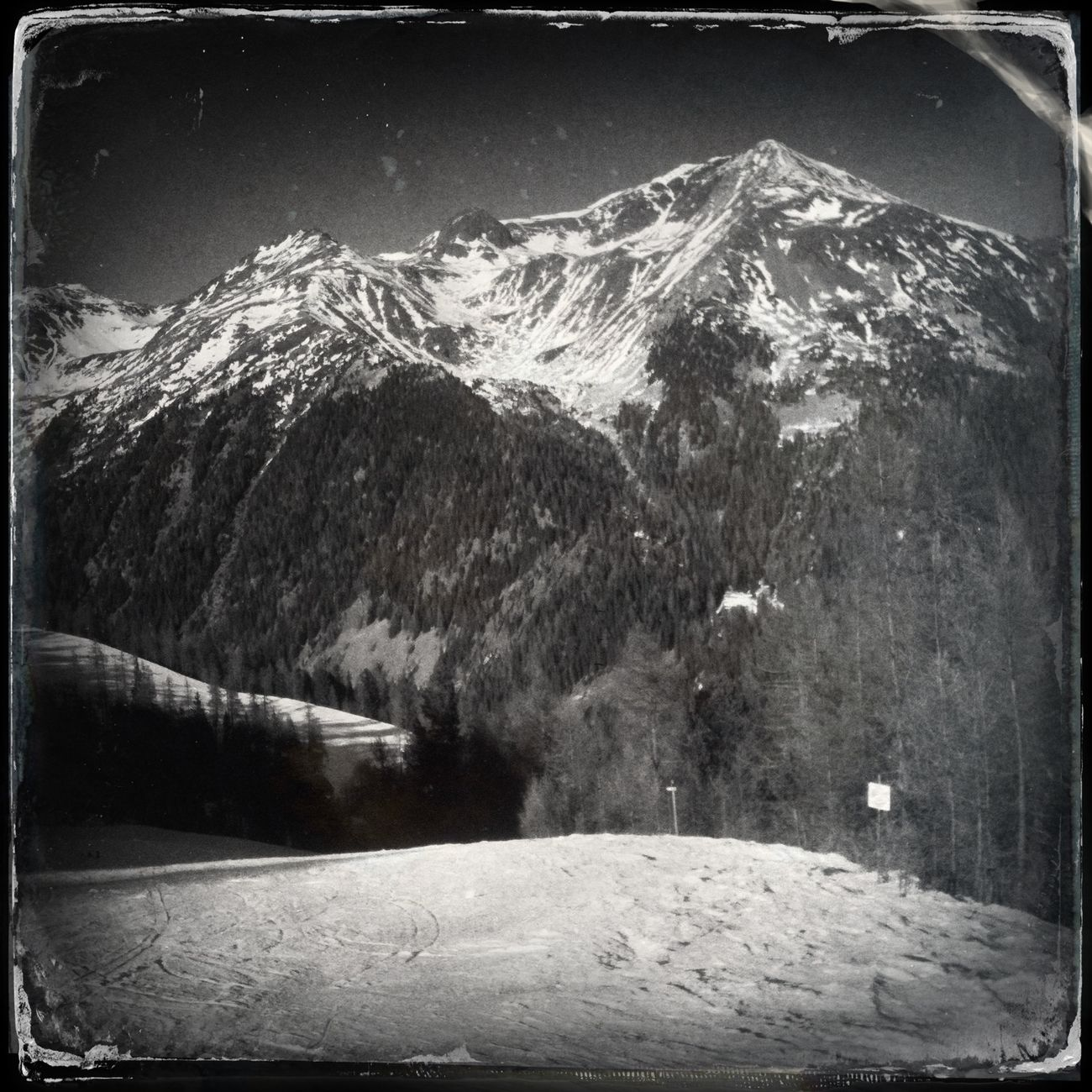 The top of Mt. Hoher Dieb - Gran Ladro Blackandwhite Ultental The_guido Hipstamatic