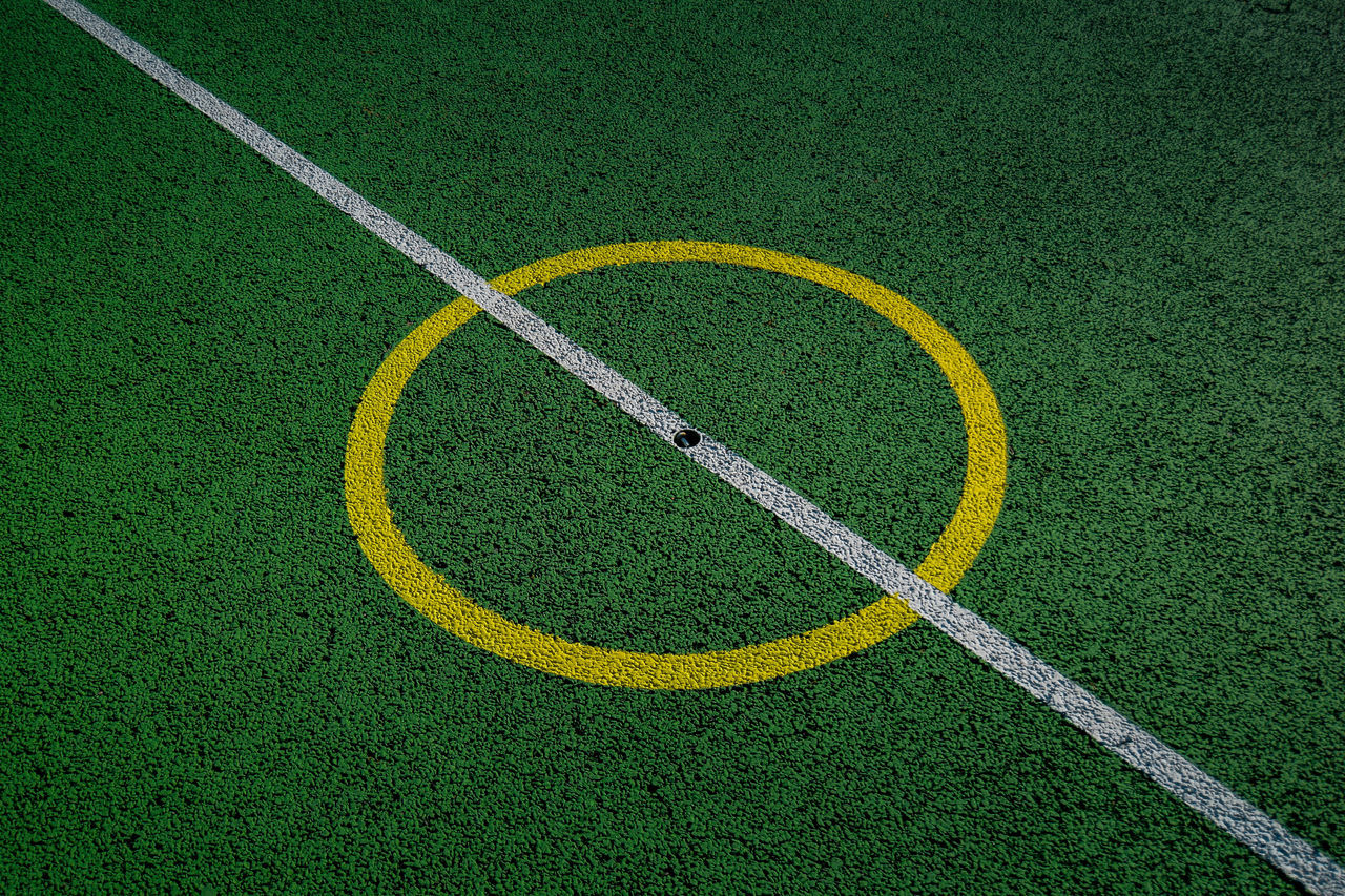 Artificial Grass Astro Turf Day Diagonal Full Frame Grass Green Color No People Outdoors Single Line Yellow Yellow Circle
