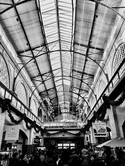 """Sky Light View"" The ornate skylight and ceiling above the interior courtyard of the San Francisco Ferry Building on a busy holiday weekend. Skylight Skylights Ferrybuilding San Francisco Embarcadero Courtyard  Architecture Blackandwhite Blackandwhite Photography"