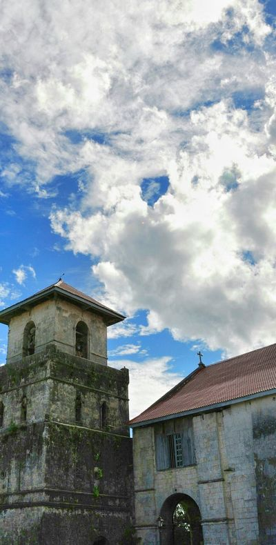 08.2009 Baclayon Church BACLAYON Bohol Philippines Old Church Belfry Sky And Clouds Outdoors