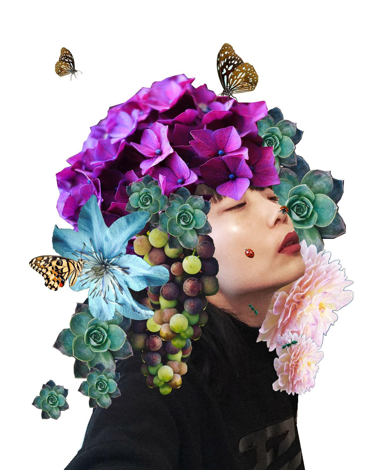Japan flower girl collageart Collage