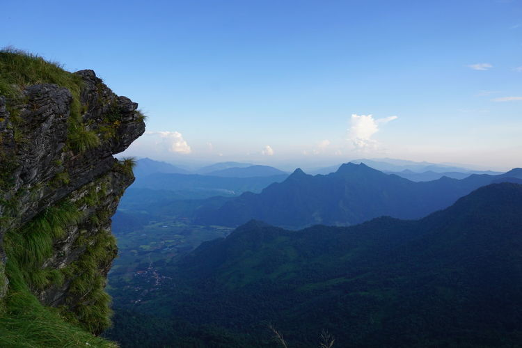 Small village by through the cliff Beauty Beauty In Nature Blue Blue Sky Cliff Cloud - Sky Clouds And Sky Cold Day Doi Grass Landscape Mount Mountain Mountain Range Nature Outdoors Phu Rock - Object Sky Stone Top Of The Mountains View Village Winter