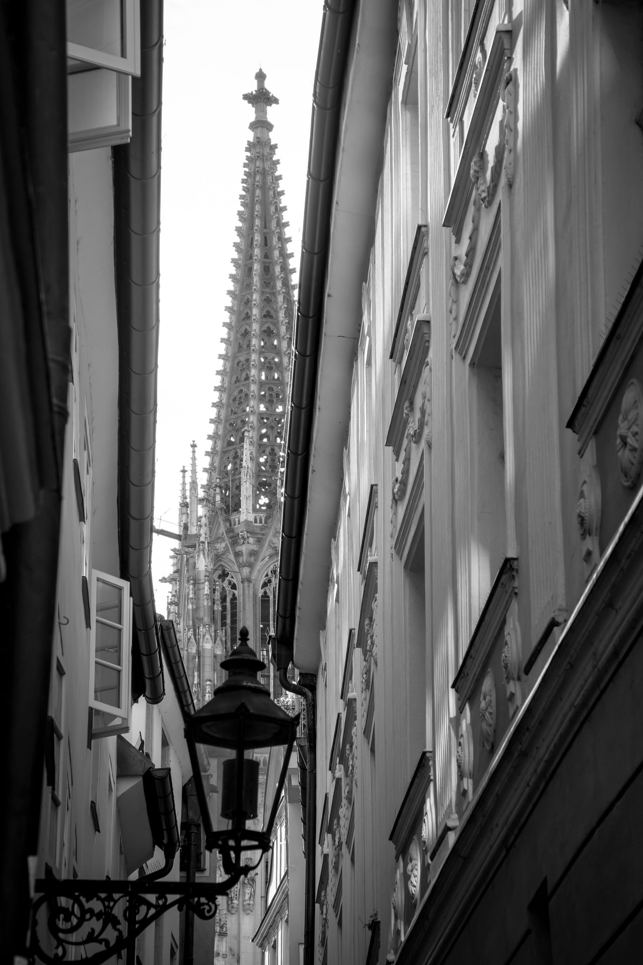 Black & White Cathedral Church Dom Low Angle View Architecture Black And White Building Exterior Built Structure City Day Famous Place Lamp No People Outdoors Street Urban