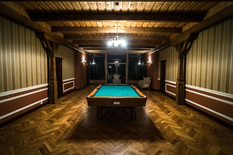 Manor estate, pool / snooker table in old wooden / country style hall / room / building. Wide angle photo Architecture Billiard Castle Ceiling Classic Country Style Design Hall Hostel Hotel Manor Manor House Mansion Old Old School Old Wooden House Old-fashioned Pool Room Rooms Snooker Table Wide Angle Wood - Material Wooden