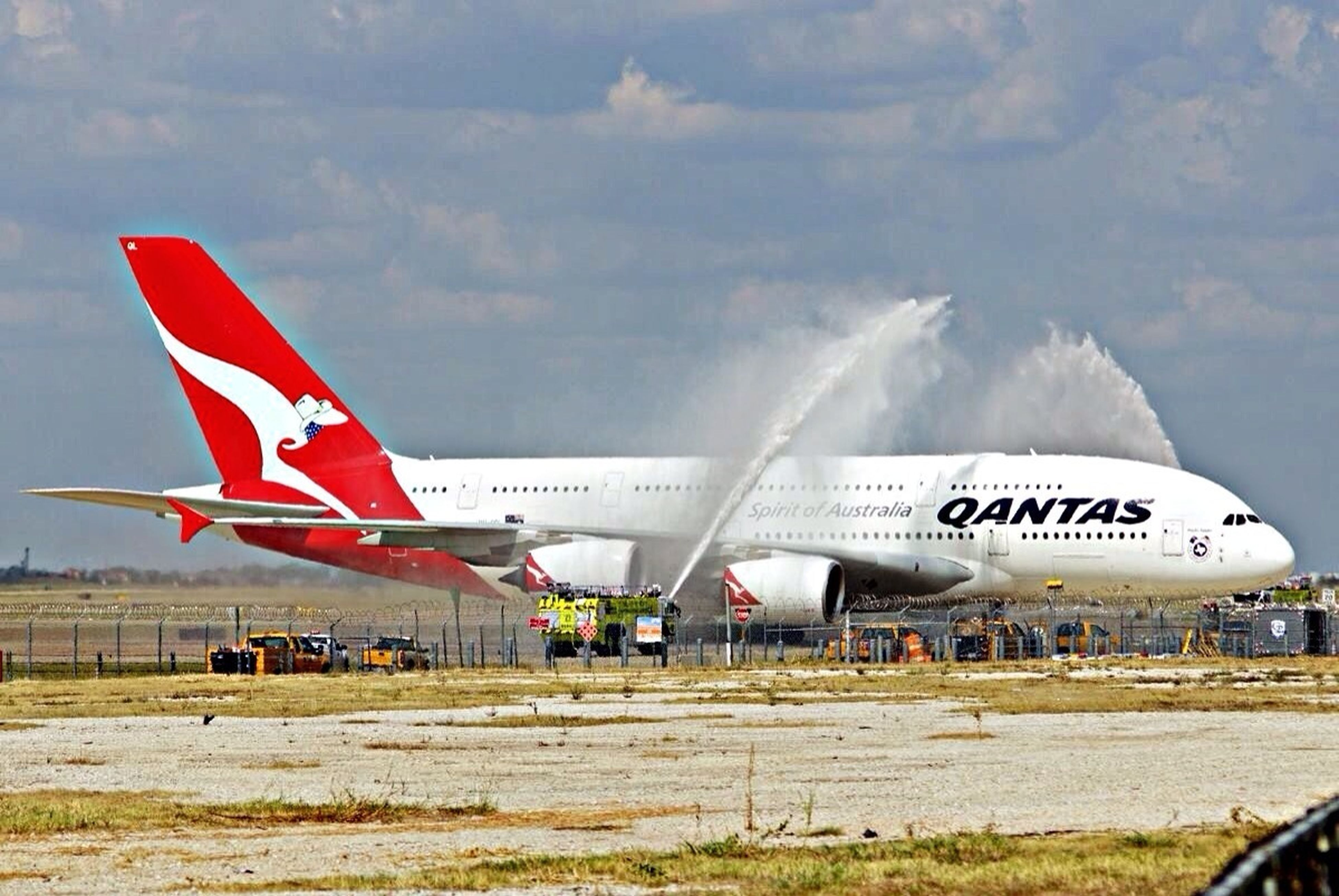 Little change up. I was out at DFW intl airport today to watch Qantas inagural A380 non stop service between Sydney and Dallas/Ft Worth. Traditional water cannon salute. Qantas A380 Dfw Airport Airplane