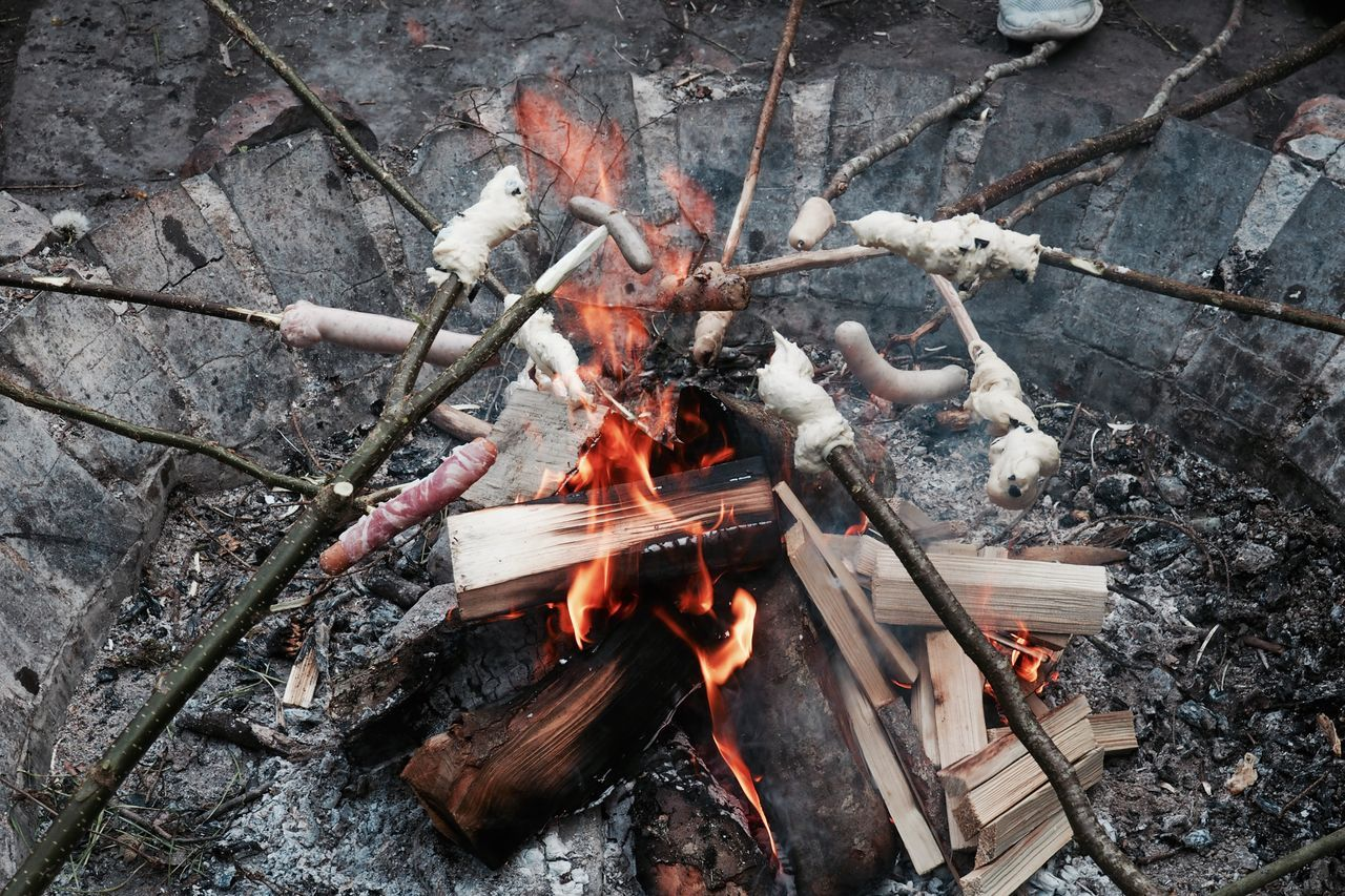 Barbecue BBQ Bonfire Burning Camping Close-up Day Flame Friendship Heat - Temperature Leisure Activity No People Outdoors Sausage Stick Bread Wood