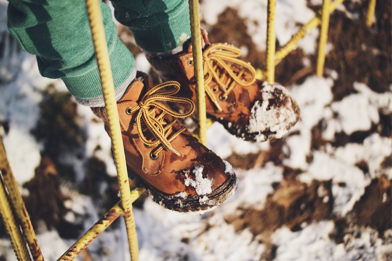 Winter: childhood's wonder... Shoe Focus On Foreground Close-up Hanging Child Human Body Part Winter Snow Cold Temperature Warm Clothing Boots Hiking Boots Winter Wonderland Made In Romania Wintertime Fresh On Eyeem  Details Of My Life My Favorite Photo Found On The Roll City Life Vscocam Playground Park Urban Closeup Fresh On Market 2017