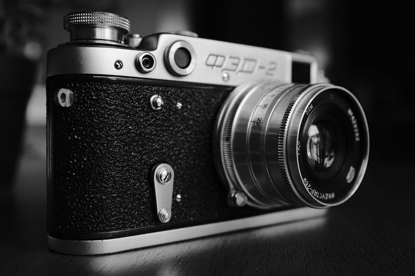 FED Photography Themes Retro Styled Old-fashioned Camera - Photographic Equipment Antique Focus On Foreground Technology No People Vintage Black Color Close-up Indoors  Camera Movie Camera Modern Day
