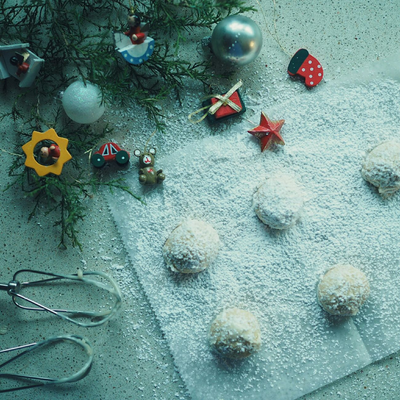 snowball cookies Cookies Showcase: December Christmas Tree Ornaments クリスマス クッキー お菓子作り Homemade 手作りおやつ Snow