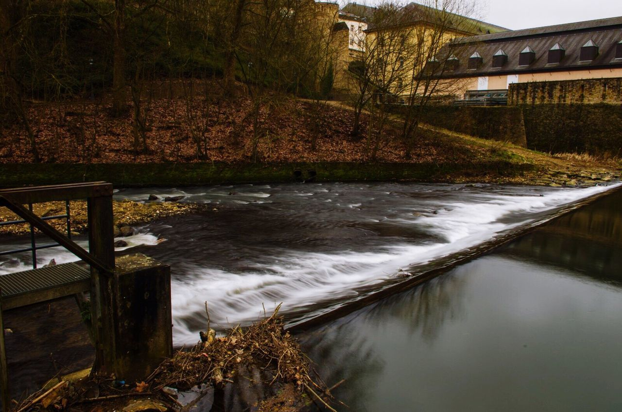 Water Built Structure Tree Architecture Flowing Water No People Nature Luxembourgcity Luxembourg Streetphotography Nature Photography Bridge - Man Made Structure Outdoors River Day Waterfall