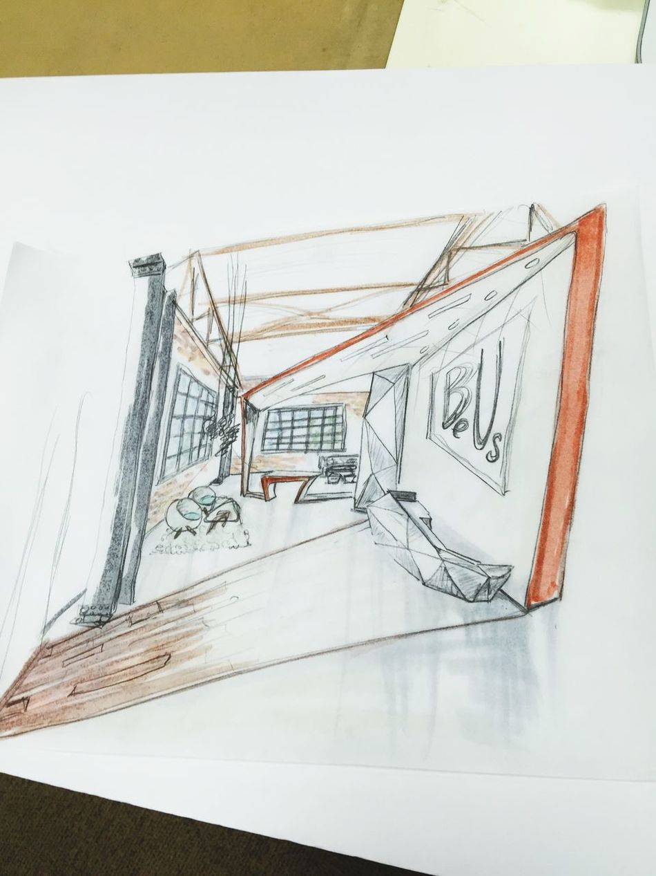 CapStone sketch idea :) Final Project. Co-working Office. Front reception and lounge Sketch Interior Design Your Design Story