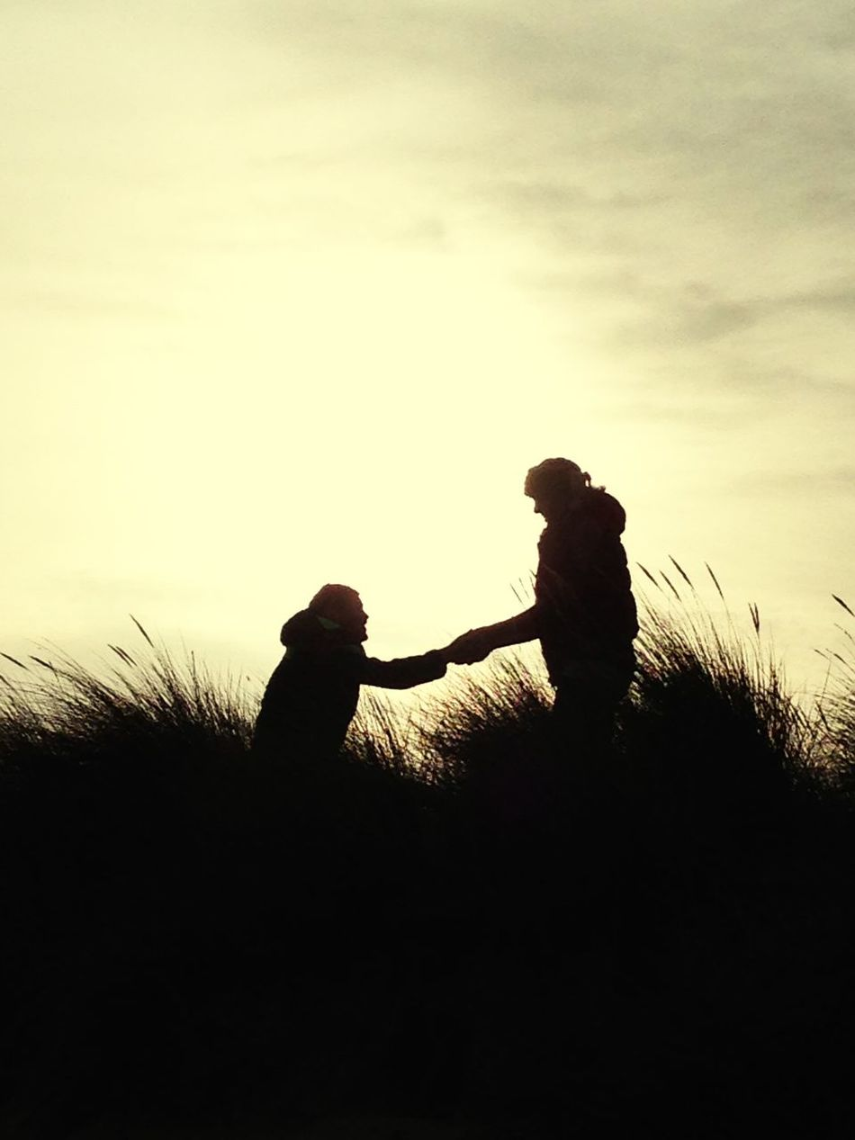 The Proposal Two People Silhouette Real People Engagement Beachphotography Holkham beachproposal