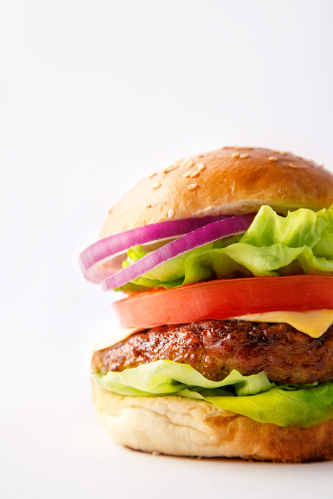 Tasty hamburger on white background Bread Bun Burger Close-up Fast Food Food Food And Drink Freshness Garnish Hamburger Lettuce Meat No People Onion Ready-to-eat Sandwich Sesame SLICE Studio Shot Take Out Food Tomato Unhealthy Eating Vegetable White Background Whole Wheat
