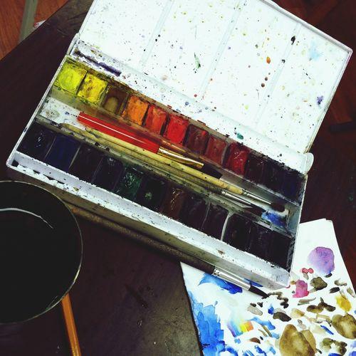 акварель кисточки палитра рисую Художка Paints Paint Artschool