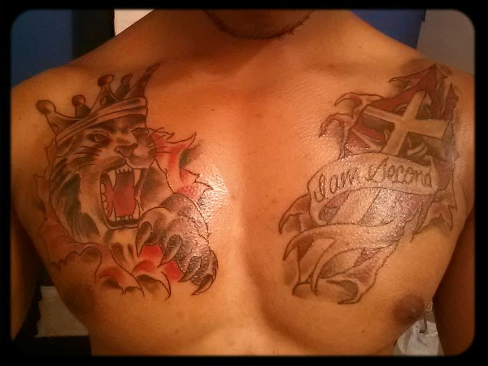 My flesh torn tattoos are awesome, but this should be it for a long time. #NotAddicted like @dustinguevara10 Cross Lion Chest Tattoo Flesh Tattoos