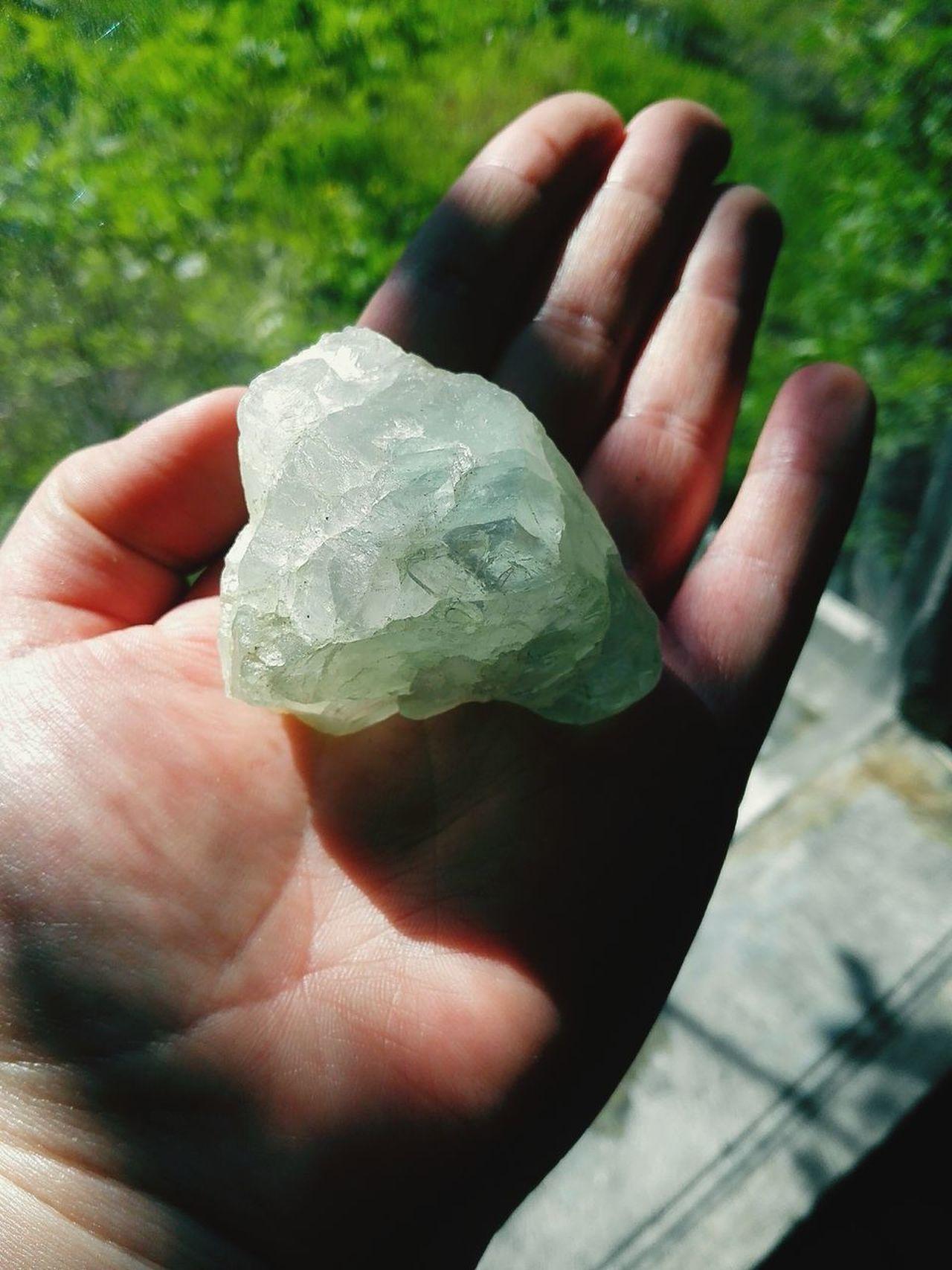 Crystal Stone Bluestone Sunshine Warm Day Hand Grass Green Nature Window