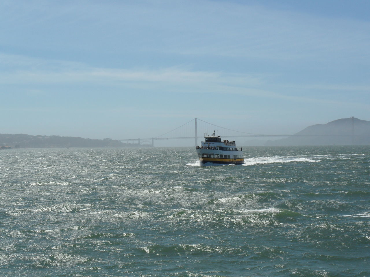 🛥 Beauty In Nature California Day Emblem  Foggy Morning Golden Gate Bridge Hanging Bridge Mode Of Transport Nature Nautical Vessel No People Outdoors Scenics Sea Ship Sky Tranquility Transportation Travel Destinations Water Waterfront Worldwide