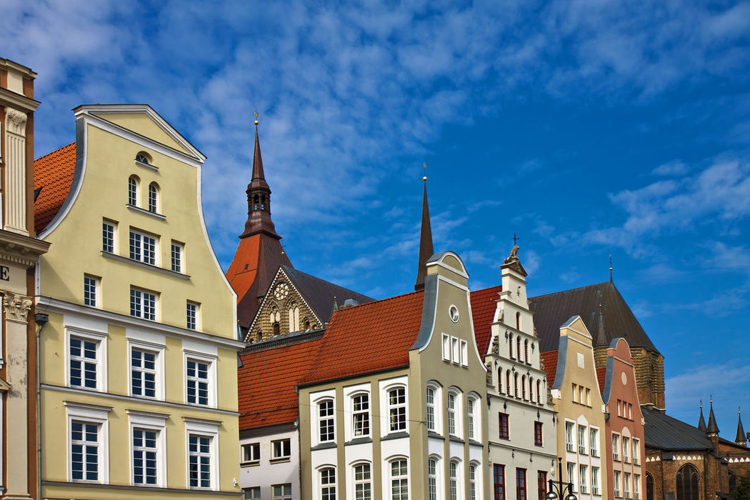 Buildings in Rostock, Germany. Architecture Building Exterior Built Structure Church City Day Hanseatic Low Angle View Neuer Markt No People Outdoors Rostock Sky Town Travel Destinations