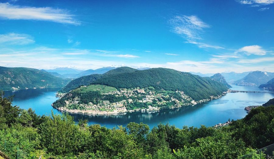 Lugano Lake Scenics Nature Mountain Tranquil Scene High Angle View Outdoors Lake No People Travel Destinations Summer ☀