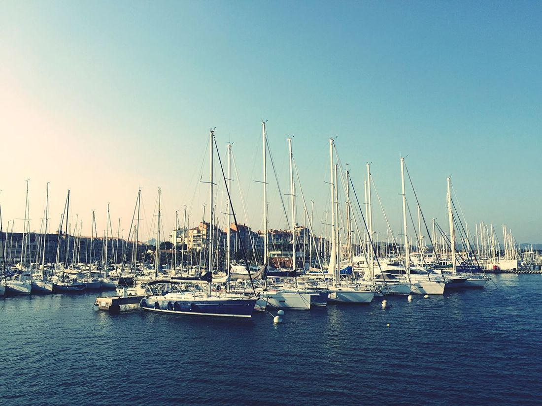 Sky Water Nautical Vessel Transportation Moored Mast Outdoors Sea Waterfront Mode Of Transport No People Clear Sky Beauty In Nature Sailboat Harbor Nature Day Marine Scenics Yacht Hyères