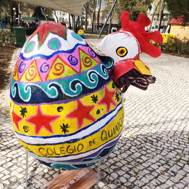 Easter Figueiradafoz Schoolart Easter Ready Big Easter Egg made by children of Quiaios College, Portugal, in a park in Figueira da Foz