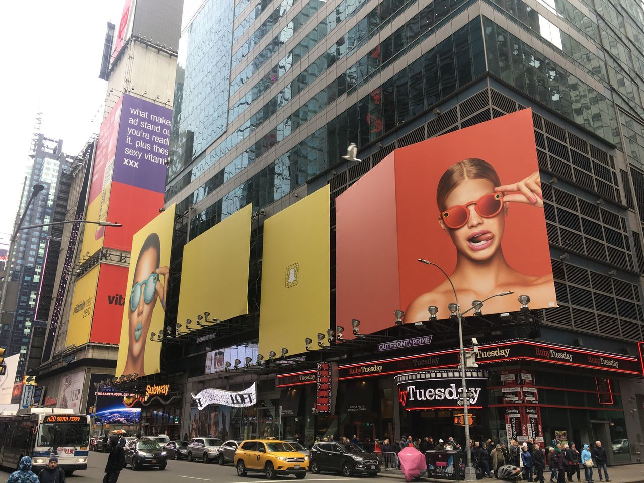 Snapchat @ Times Square Road Sign Billboard Snapchat Outdoors Day Ads New York City