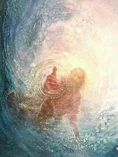 Jesus reaching out to Peter who feared and began to drown just he reaches the lost or drowning in sin