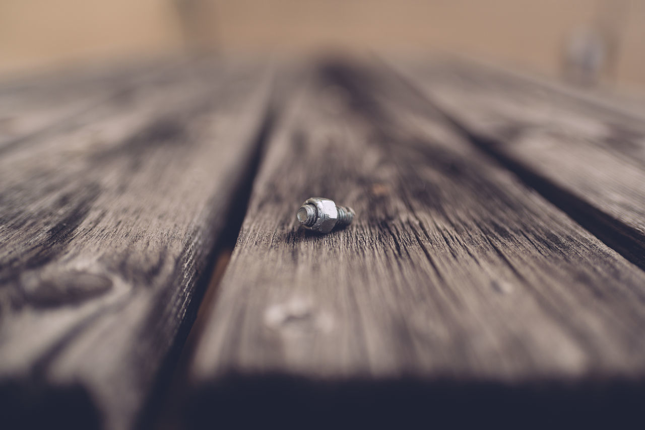 Bolt Centered Composition Close-up Day No People Picnic Table Selective Focus Single Object Table Textured  Wood - Material