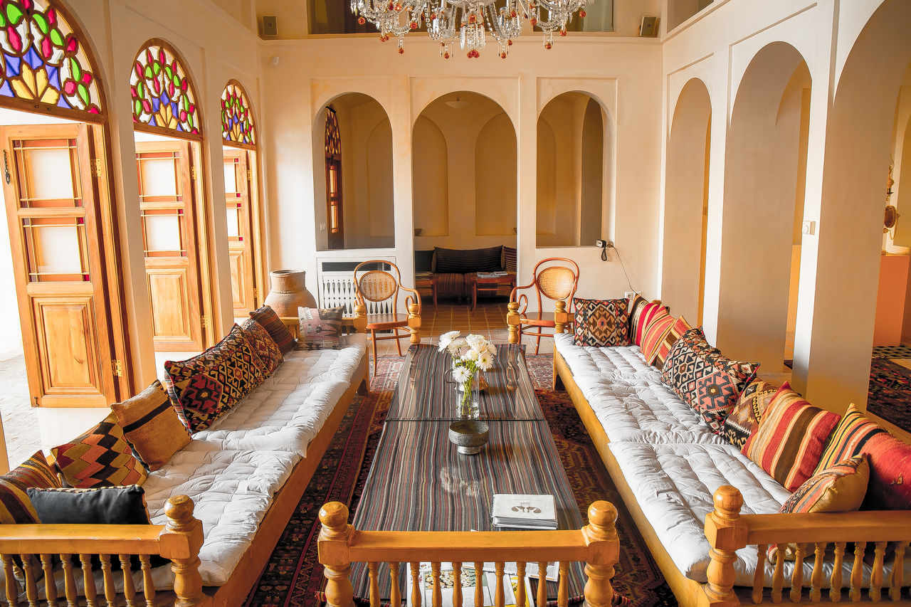 Manouchehri House is a historic house in Kashan, Iran, now in use as a hotel. Its primary architecture dates back to the Safavid dynasty. Manouchehri House was partly ruined by the 1778 earthquake and was rebuilt in the Qajar era. In 2007, the house was bought and registered as a heritage monument, despite being in a state of disrepair. After major restoration work, the house became the first boutique hotel in Iran. It was awarded a Lonely Planet Top Choice award in 2012 Amayzing Beautiful Boutique Hotel Dynasty ERA Exciting Fantasic Fantasy Historic Holiday Kashan Manouchehri House Qajar Safavid Stay