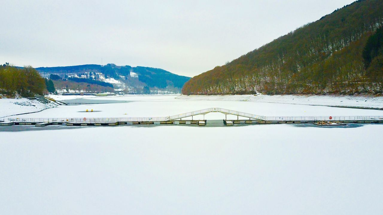 Lultzhausen LU Snow Winter Cold Temperature Nature Mountain Beauty In Nature Scenics Tranquil Scene Tranquility Mountain Range Non-urban Scene Sky Landscape Tree Outdoors No People Day Water Lultzhausen Luxembourg Beaufort  DJI Mavic Pro Stausee